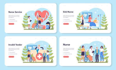 Nurse service web banner or landing page set. Medical occupation, Ilustración de vector