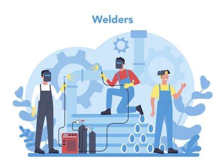 Welder and welding service concept. Professional welder in protective mask and gloves. Man in uniform welding metal pipe and construction made of steel. Industrial profession. Vector illustration Vectores