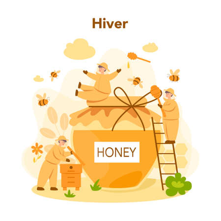 Hiver or beekeeper concept. Professional farmer with hive and honey. Countryside organic product. Apiary worker, beekeeping and honey production. Vector illustration