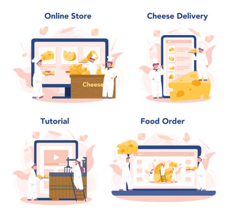Cheese maker concept online service or platform set. Professional chef