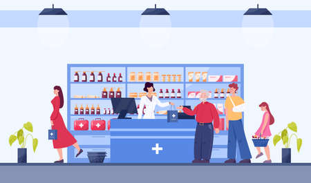 Modern pharmacy interior with visitor. Client order and buy medicaments and drugs. Pharmacist standing at the counter in the uniform. Healthcare and medical treatment concept. Vector illustration