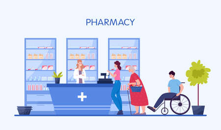 Modern pharmacy interior with visitor. Client order and buy medicaments and drugs. Pharmacist standing at the counter in the uniform. Healthcare and medical treatment concept. Vector illustration Ilustracje wektorowe