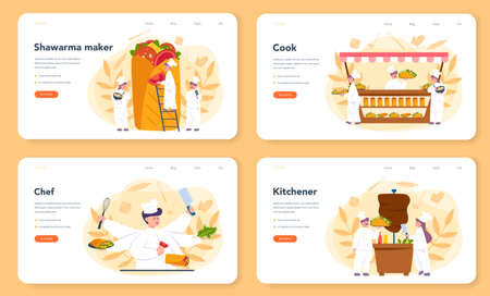 Shawarma street food web banner or landing page set. Chef cooking delicious roll with meat, salad and tomato. Kebab fast food cafe. Vector illustration in cartoon style Illustration