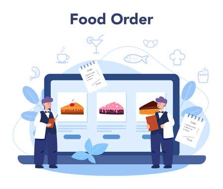 Restaurant online service or platform. Waiter staff in the uniform,