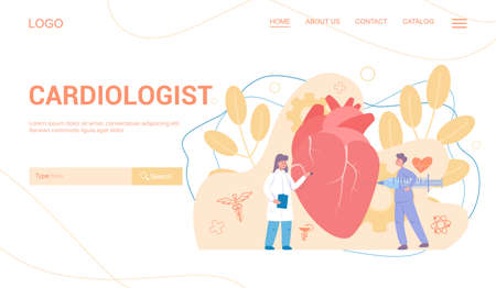 Cardiology web banner concept. Idea of heart care and medical examination. Doctors treat giant heart. Internal organ. Isolated illustration in cartoon style