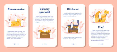 Cheese maker concept mobile application banner set. Professional chef making block of cheese. Cooker in professional uniform, holding a cheese slice. Cheese production. Isolated vector illustration Ilustração