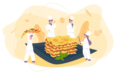 Little chef in professional uniform cook tasty lasagna on the plate. Illustration