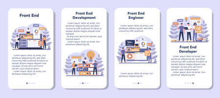 Frontend development mobile application banner set. Website Иллюстрация