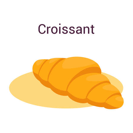 Sweet french croissant with crispy crust. Fast food snack, delicious pastry. Isolated vector flat illustration