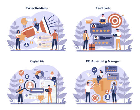 Public relations concept set. Idea of making announcements through