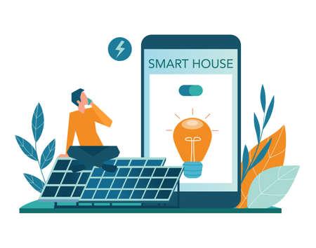 Alternative energy online service or platform set. Idea of ecology Ilustrace