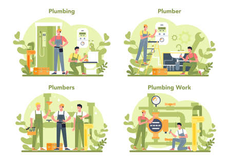 Plumbing service concept set. Professional repair and cleaning Иллюстрация