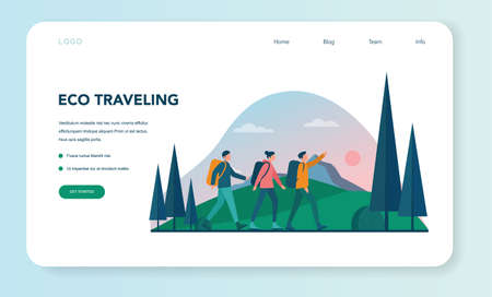 Eco tourism and eco traveling web banner or landing page.