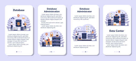 Data base administrator mobile application banner set. Female and