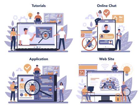 Testing software online service or platform set. Application or website Vector Illustration