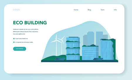 Ecology web banner or landing page. Eco-friendly house building Ilustrace