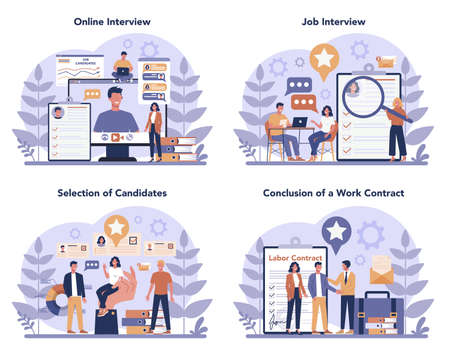 Job interview concept set. Idea of employment and hiring Иллюстрация