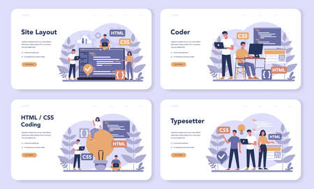 Typersetter web banner or landing page set. Website constructing. Иллюстрация