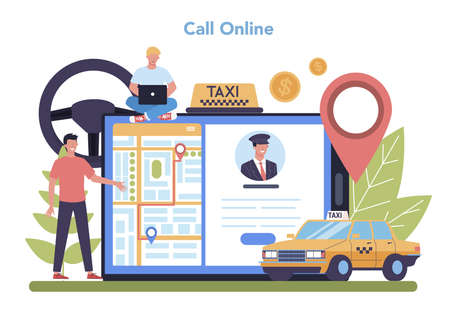 Taxi service online service or platform. Yellow taxi car. Idea of Vectores