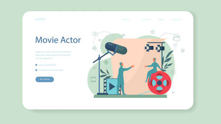 Actor and actress concept. Idea of creative people and profession. Illustration