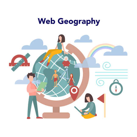 Web geography concept. World GPS navigation and Internet geography. Geography online. Idea of education and knowledge. Isolated vector illustration in flat style