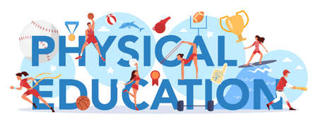 Physical education lesson school class typographic header concept Vectores