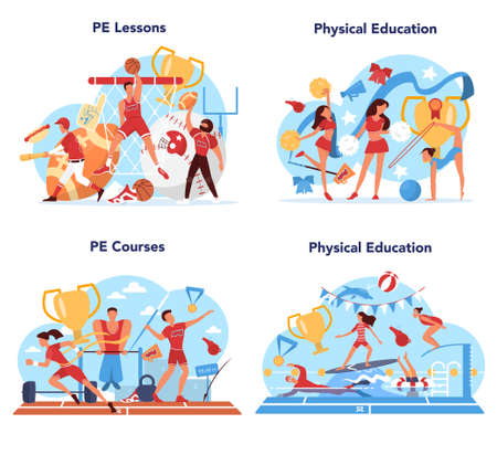 Physical education lesson school class concept set. Students doing