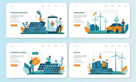 Alternative energy web banner or landing page set. Idea of ecology Ilustrace