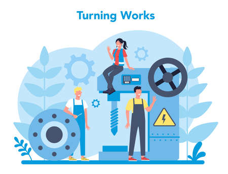 Turner or lathe concept. Factory worker using turning machine