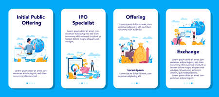 Initial Public Offerings specialist mobile application banner set.