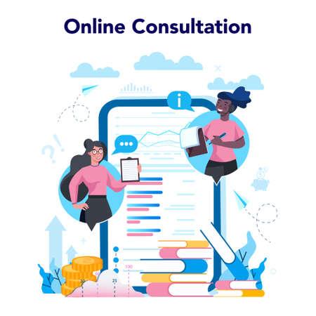 Business analyst online service or platform. Business strategy Vetores