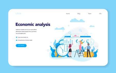Economic analysis concept web banner or landing page set.