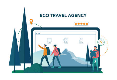 Eco tourism and eco traveling online service or platform. Eco friendly tourism in wild nature website Hicking and canoeing. Vector illustration. Ilustrace
