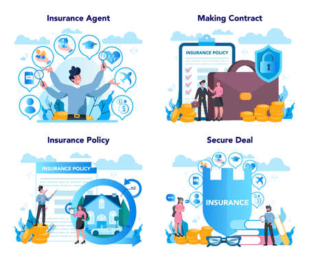 Insurance agent concept set. Idea of security and protection of property and life from damage. Healthcare and medical service. Isolated flat vector illustration