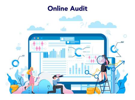 Audit online service or platform. Online business operation Vecteurs