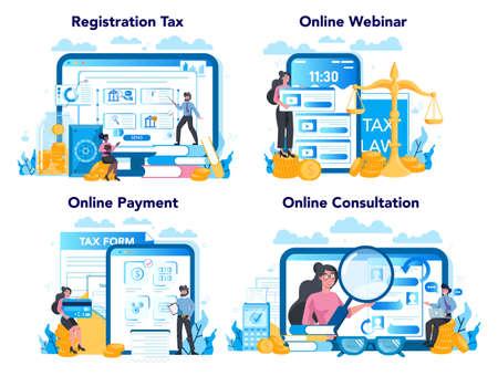 Tax inspector online service or platform set. Financial bill, financial