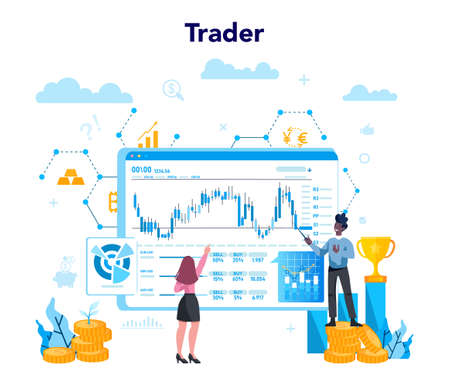 Trader, financial investment concept. Buy, sell or loss profits, trader strategy. Idea of money increase and finance growth. Vector illustration in flat style Stock Illustratie