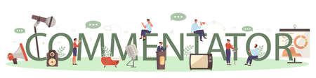 Professional speaker or commentator typographic header concept. Illustration