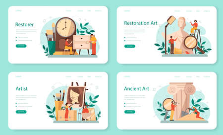 Restorer web banner or landing page set. Artist restores an ancient