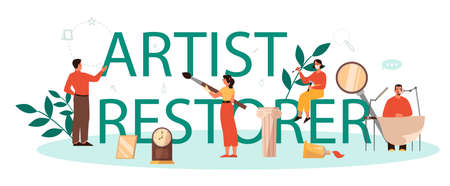 Restorer typographic header concept. Artist restores an ancient statue