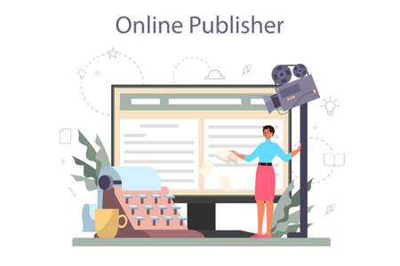 Screenwriter online service or platform set. Person create a screenplay