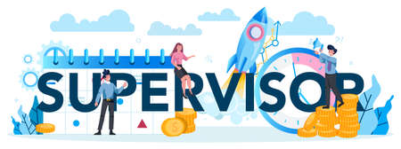 Supervisor manager typographic header. Specialist guiding employees with their task, coordinating job, organizing professional trainnig. Manager control job process. Isolated vector illustration