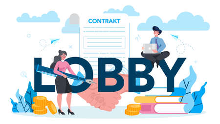 Lobbyist and lobby concept set. Professional pr specialist influencing