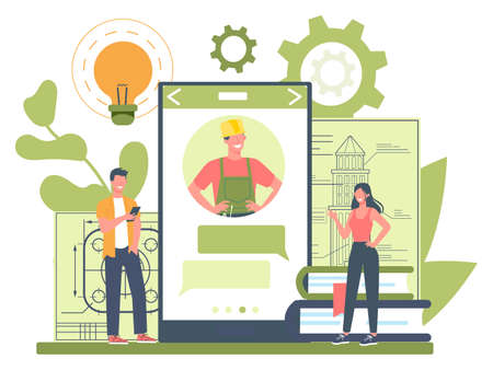 Engineeering online service or platform. professional consultation. Professional occupation to design and build machines and structures. Isolated vector illustration