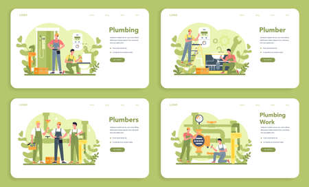 Plumbing service web banner or landing page set. Professional repair