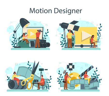 Motion or video designer set. Artist create computer animation for multimedia project. Digital technology for website and advertising. Animation editor, cartoon production. Vector illustration Illustration