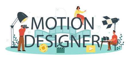 Motion or video designer typographic header concept. Artist create computer animation for multimedia project. Animation editor, cartoon production. Isolated vector illustration