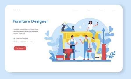 Wooden furniture maker or designer web banner or landing page.