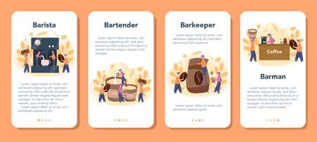 Barista mobile application banner set. Bartender making a cup