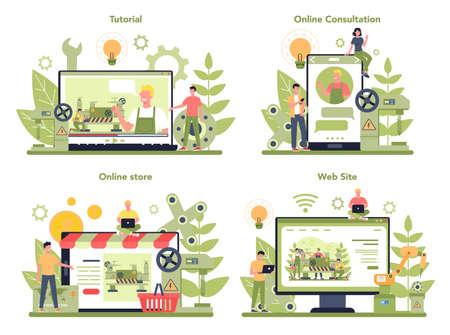 Turner or lathe online service or platform concept set. Factory worker Illustration
